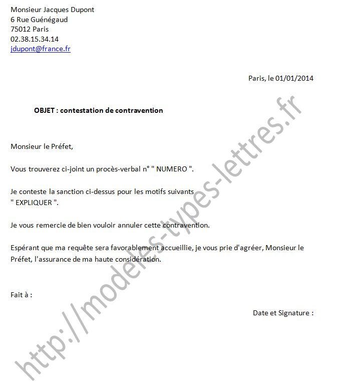 Lettre Contestation Amende Majoree Ifcil
