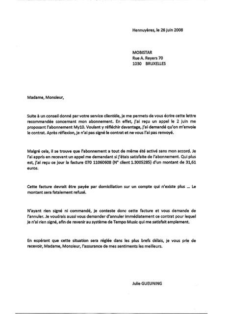 lettre de reclamation pour facture