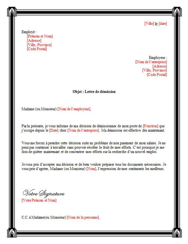 lettre de reclamation salaire