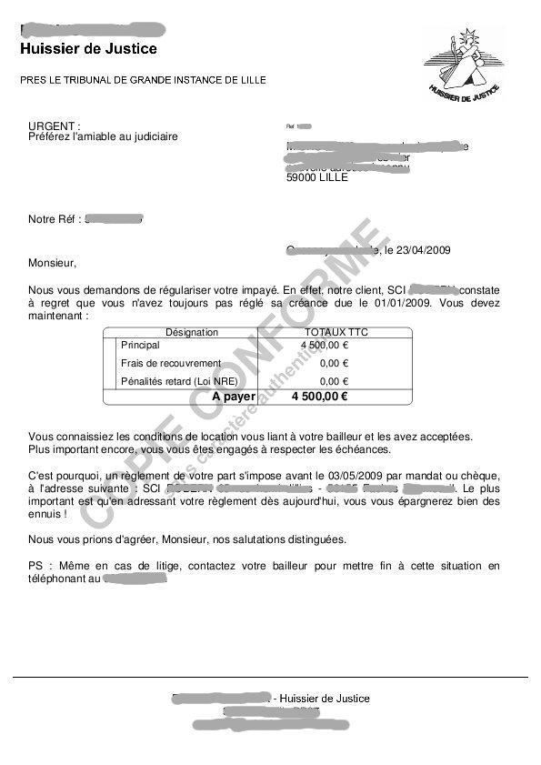 lettre de reconnaissance de dette pour loyer impaye