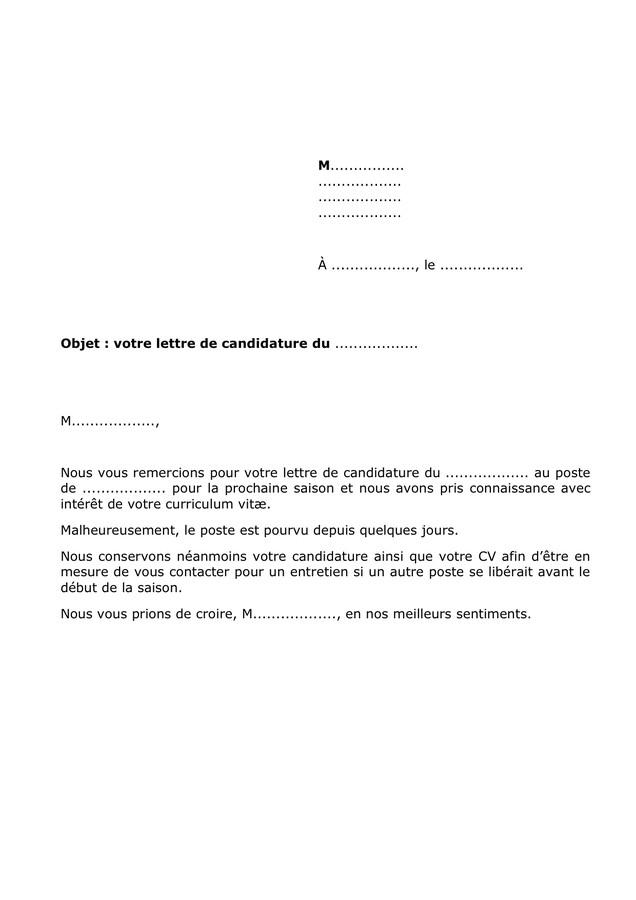 lettre de refus candidature - Modele de lettre type