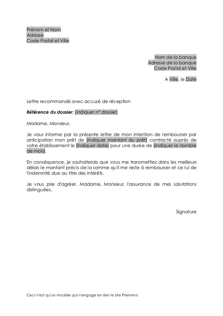 lettre de remboursement anticipe de pret