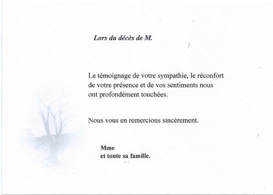 lettre de remerciement pour deces