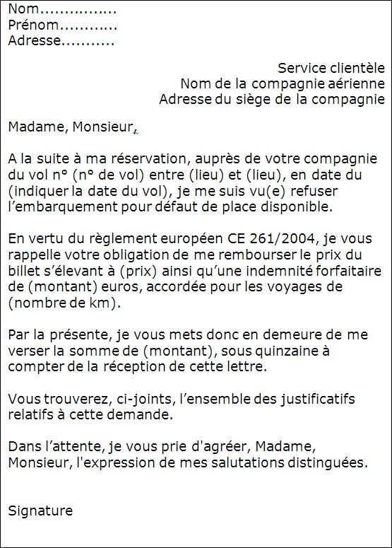 lettre de reservation