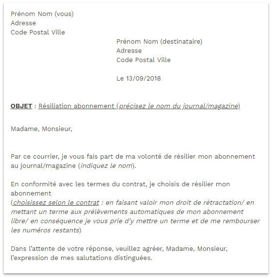 lettre de resiliation abonnement journal