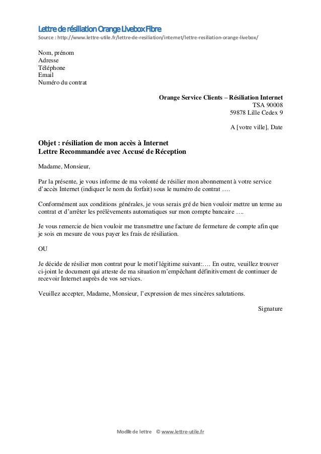 lettre de resiliation abonnement orange internet