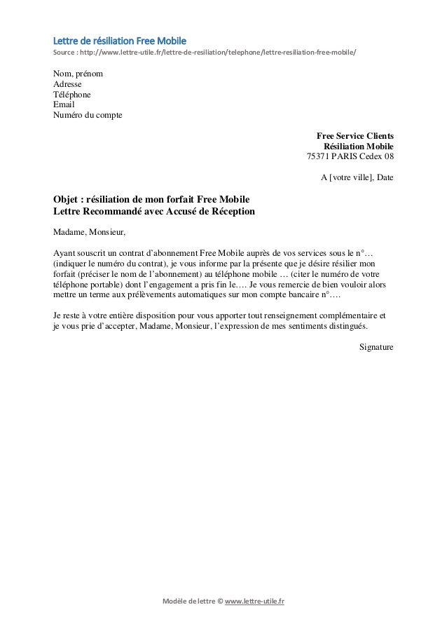 lettre de resiliation abonnement telephonique sfr