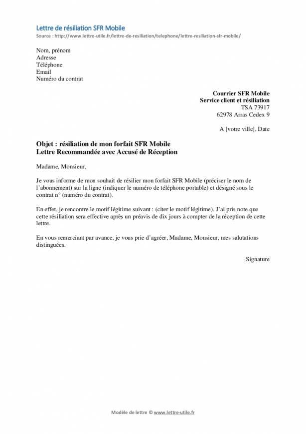 lettre de resiliation abonnement telephonique