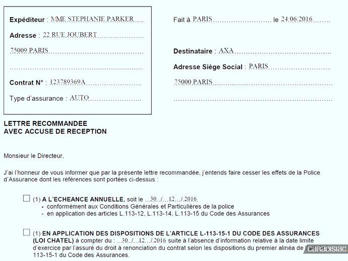 lettre de resiliation assurance auto suite vente