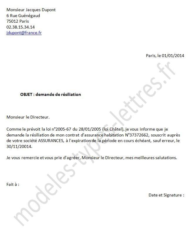lettre de resiliation assurance gratuite