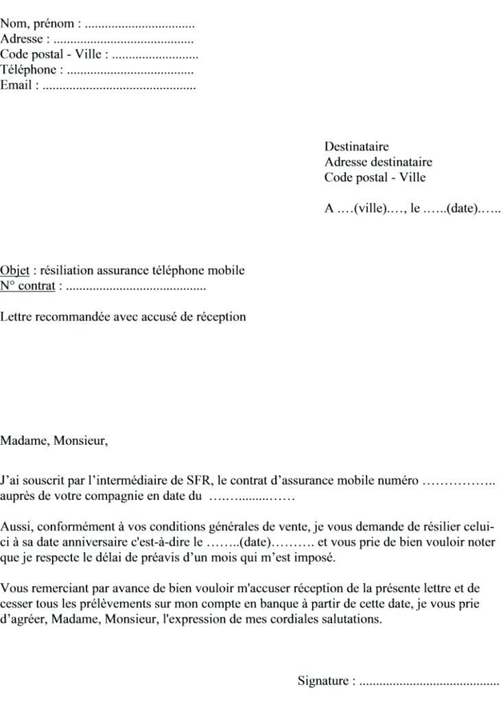 lettre de resiliation assurance telephone sfr - Modele de lettre type