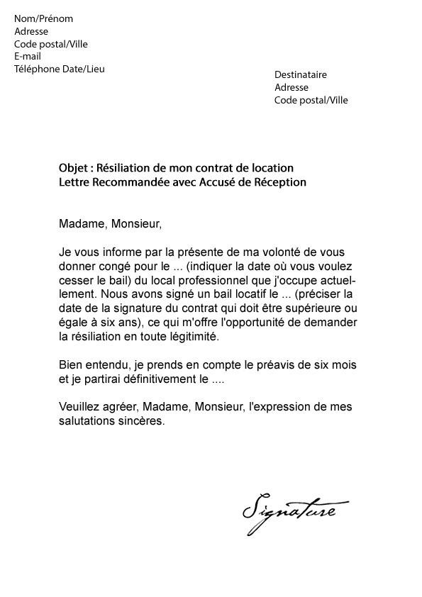 lettre de resiliation bail 1 mois