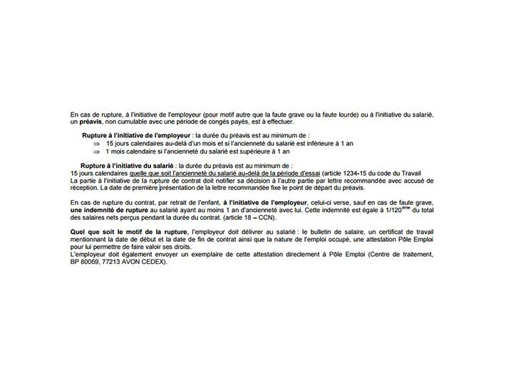 lettre de resiliation contrat assistante maternelle - Modele de lettre type
