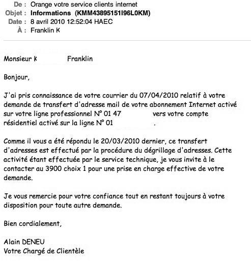 lettre de resiliation d'abonnement telephonique orange - Modele de lettre type
