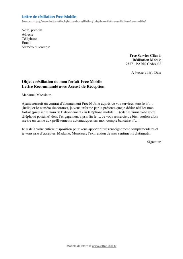 lettre de resiliation d u0026 39 un abonnement telephonique