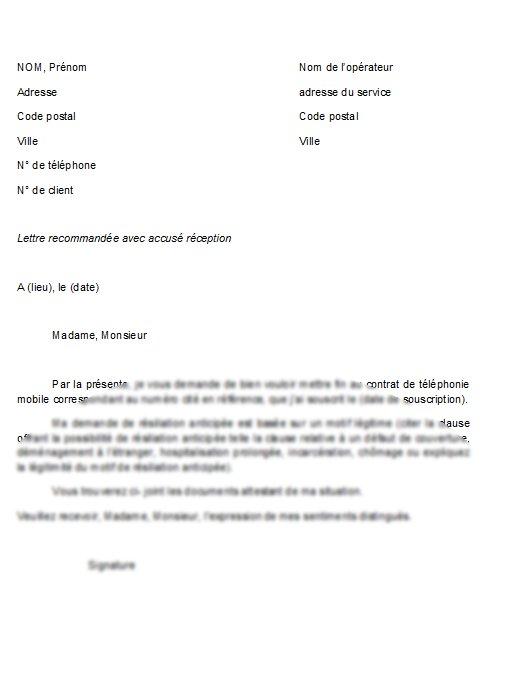 lettre de resiliation d'un abonnement