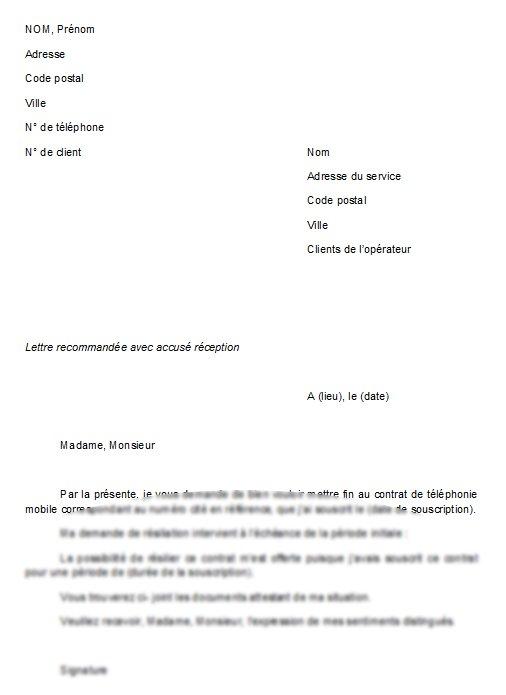 lettre de resiliation d'un contrat