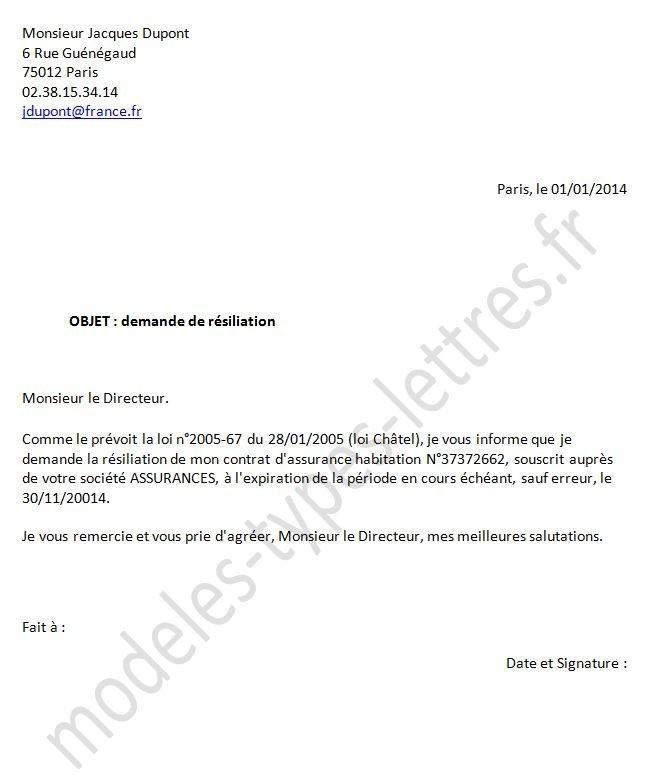lettre de resiliation d'une assurance - Modele de lettre type
