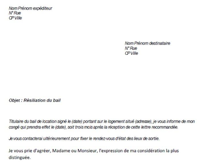 lettre de resiliation de bail avec un mois de preavis
