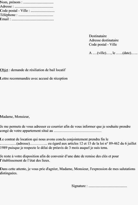 lettre de resiliation de bail locatif 1 mois - Modele de lettre type