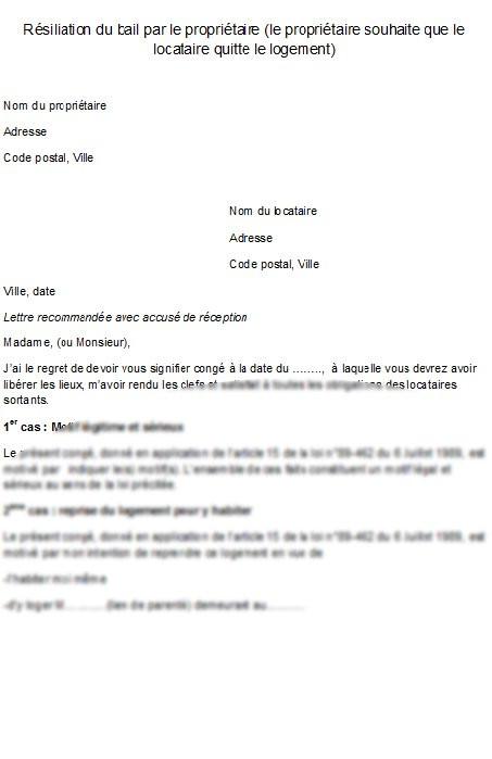 lettre de resiliation de bail meuble