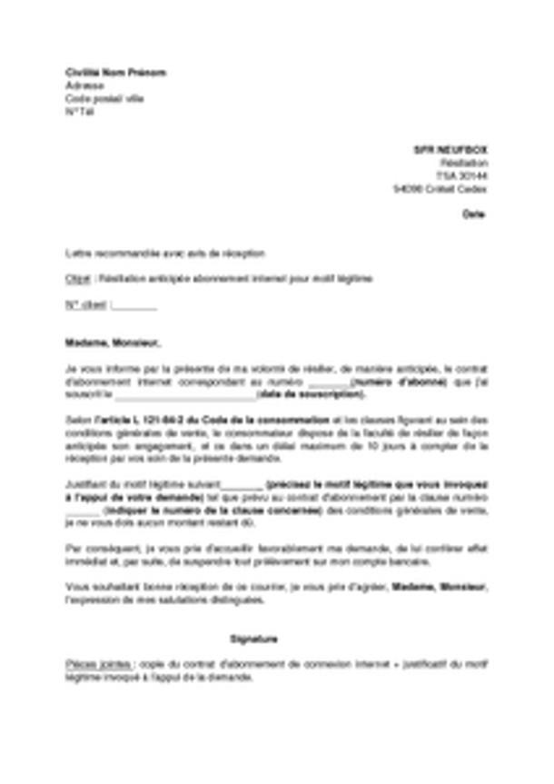 lettre de resiliation de carte