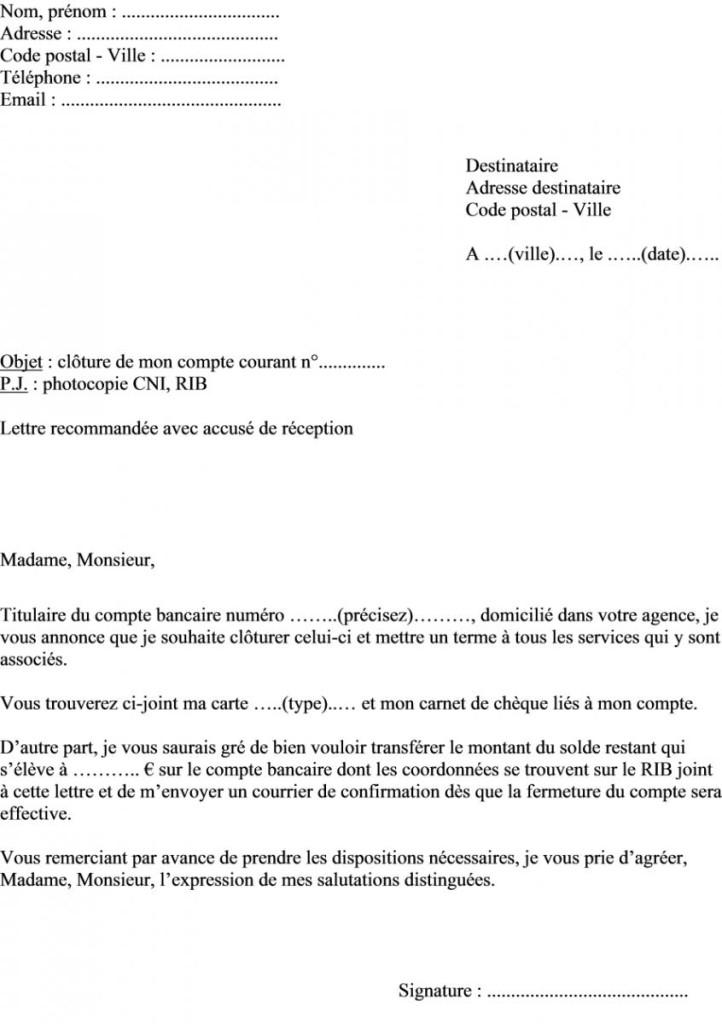 lettre de resiliation de compte bancaire gratuite