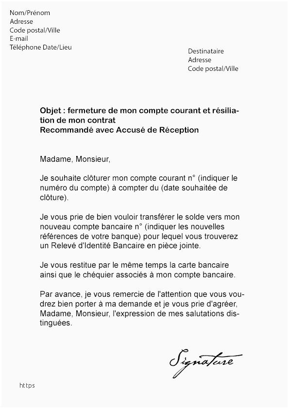 lettre de resiliation de compte courant