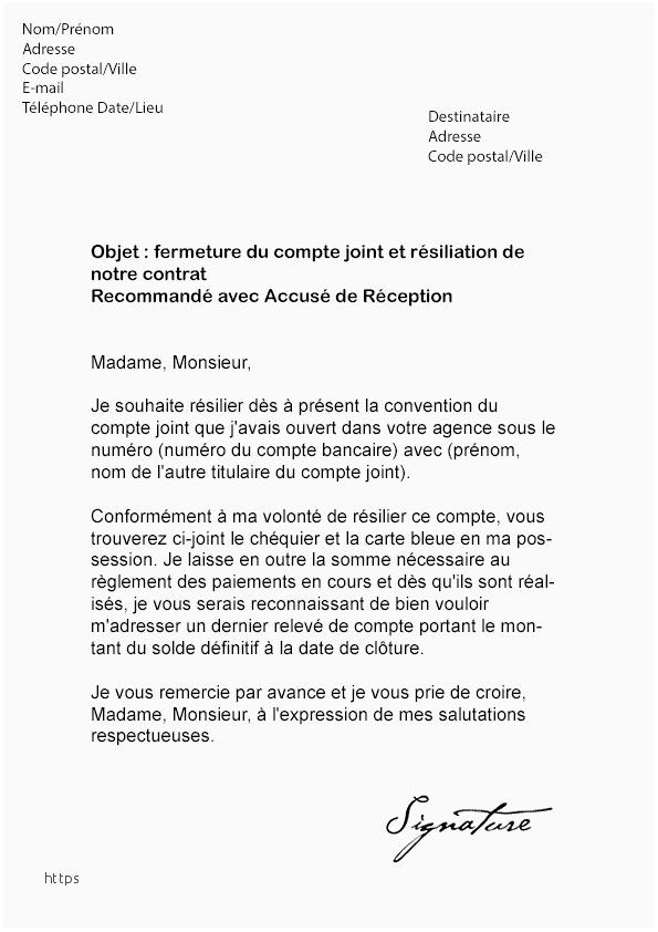 lettre de resiliation de compte