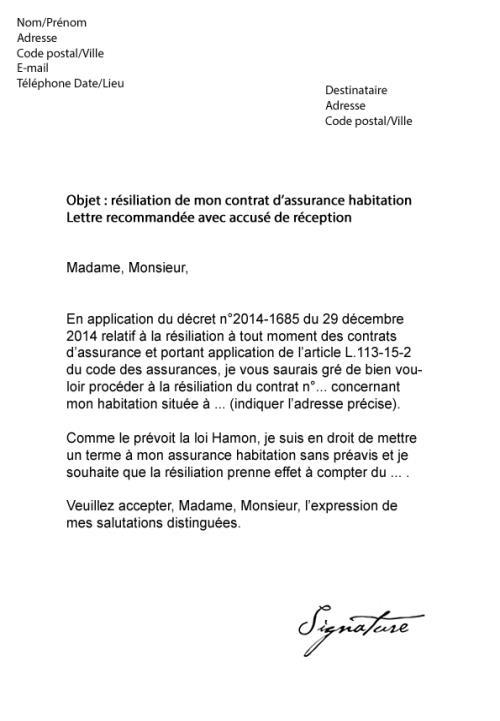 lettre de resiliation de contrat assurance