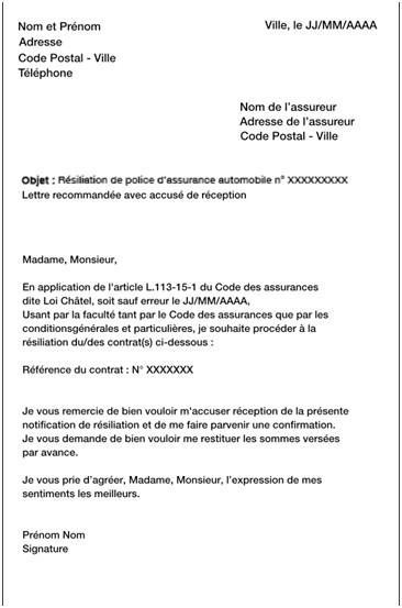 lettre de resiliation de contrat canal sat - Modele de lettre type