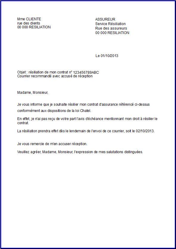 lettre de resiliation de contrat d'assurance gratuit