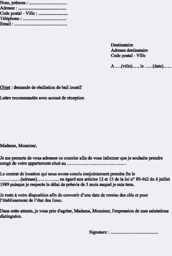 lettre de resiliation de contrat d'entretien - Modele de lettre type