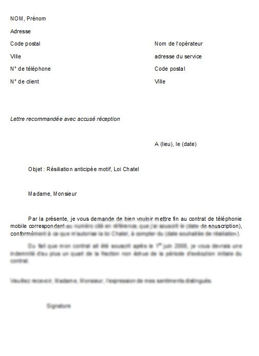 lettre de resiliation de contrat de prestation