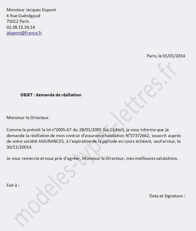 lettre de resiliation de contrat de travail - Modele de lettre type