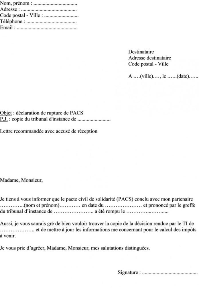 Lettre De Resiliation De Pacs Modele De Lettre Type
