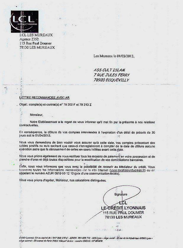 lettre de resiliation de prelevement bancaire - Modele de lettre type