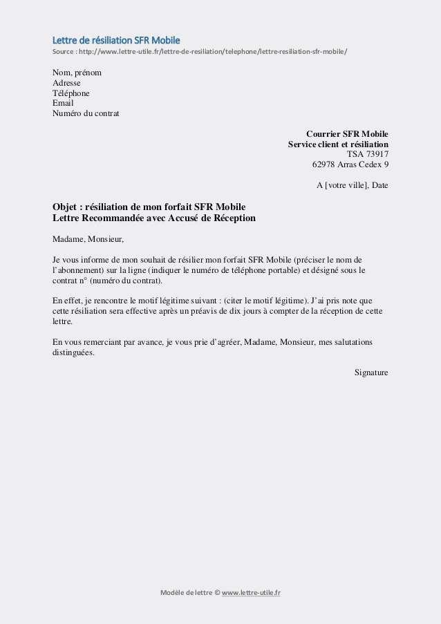 lettre de resiliation de telephone fixe