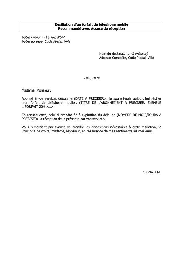 lettre de resiliation forfait mobile - Modele de lettre type