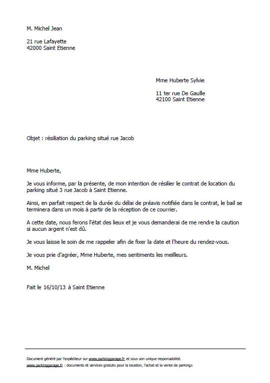 lettre de resiliation logement 1 mois