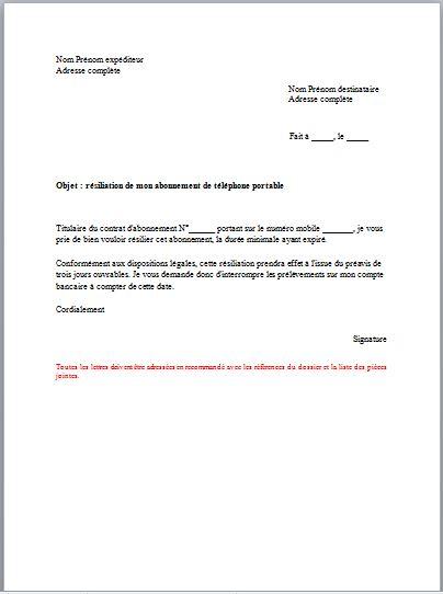 lettre de resiliation mobile free