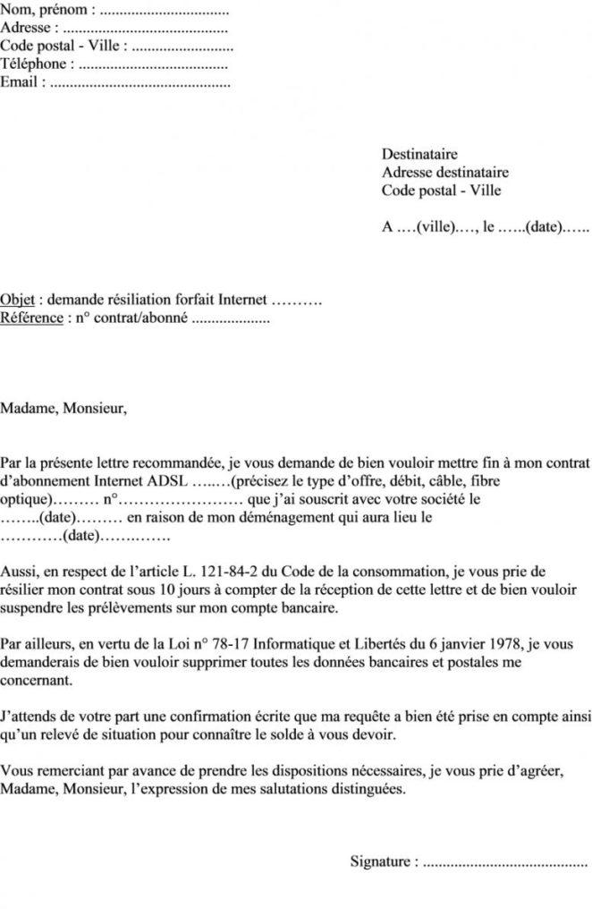 lettre de resiliation numericable demenagement