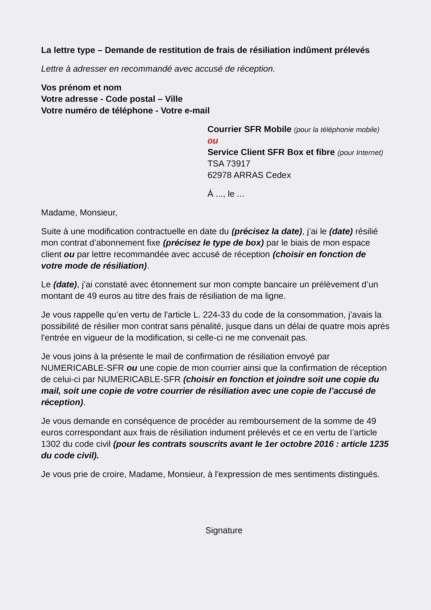 lettre de resiliation numericable
