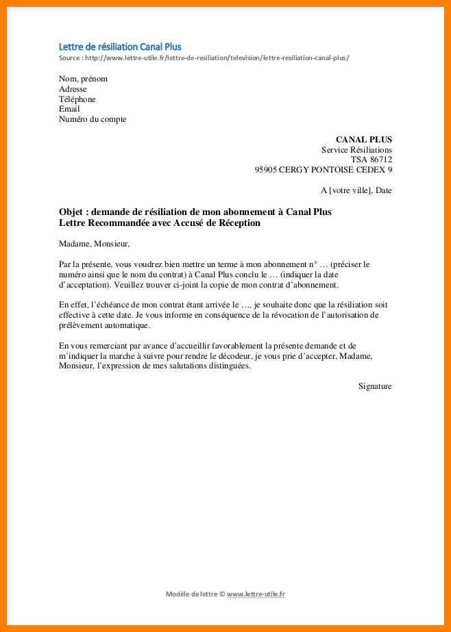 lettre de resiliation sfr box et fixe - Modele de lettre type