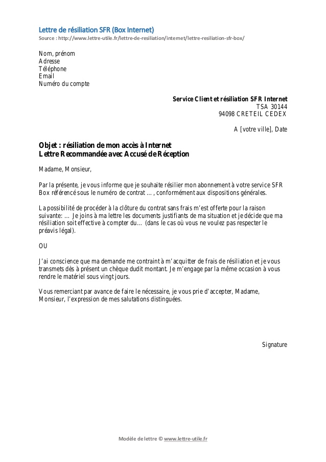 lettre de resiliation sfr box et fixe