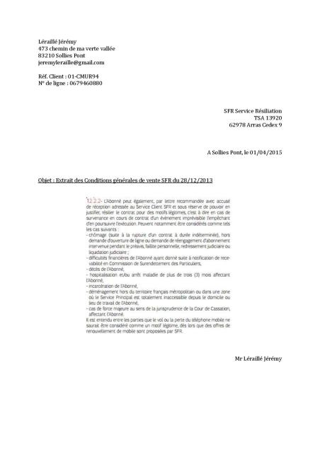 lettre de resiliation sfr depart etranger