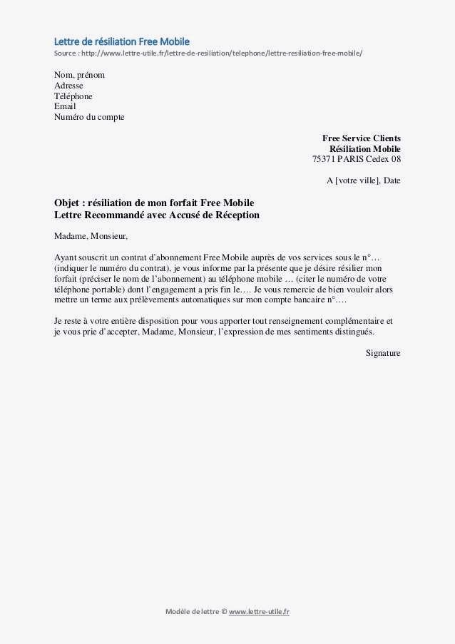lettre de resiliation sfr pour depart a l'etranger