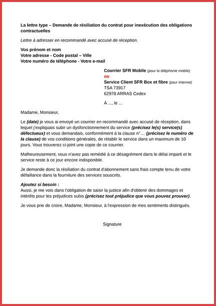 lettre de resiliation telephone portable sfr - Modele de lettre type