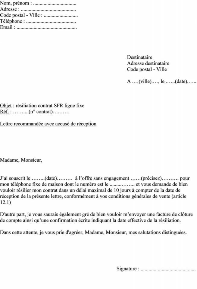 lettre de resiliation telephone portable - Modele de lettre type