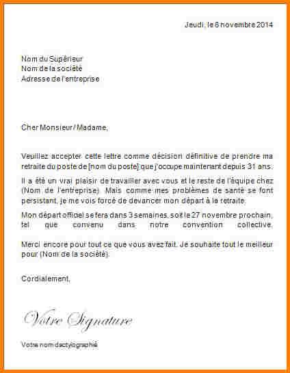 lettre de retraite